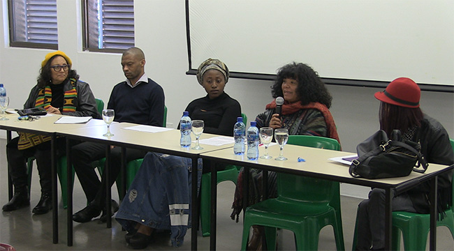 The O.R. Tambo Event panelists: Professor Gertrude Fester (Sol Plaatje University); Dr Bongani Ndhlovu (Cape Town and Iziko Museums); Motlalepula Cathy Phukubje (#RMF and African Studies); Dr June Bam-Hutchison (Panel Chair & African Studies); Valdi van Reenen (The Trauma Centre for Survivors of Violence & Torture)