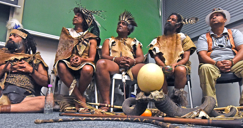 Khoisan activist Bradley van Sitters (second from left) was one of two guest speakers who discussed the future of Khoekhoegowab, the indigenous Khoisan language, at CHED's Africa Day celebration, part of UCT's Africa Month programme.