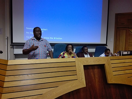 CAS Honorary Associate Dr Fani Ncapayi presents on 'Methodologies used to investigate the lives of residents in villages of the former Xhalanga district'.  Rest of panel from left to right: Professor Simphiwe Sesanti of UNISA (Chair); Mr Giyose of CALUSA, who spoke on 'The Story of the Qhumanco'; and Dr Nomathamsanqa Tisani, who spoke on 'Of Definitions and Naming'.